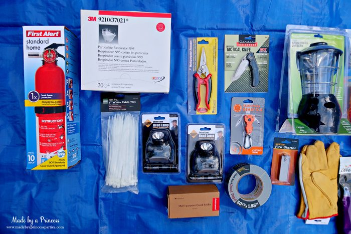 Unique School Silent Auction Idea Emergency Preparedness Kit includes fire extinguisher and tools