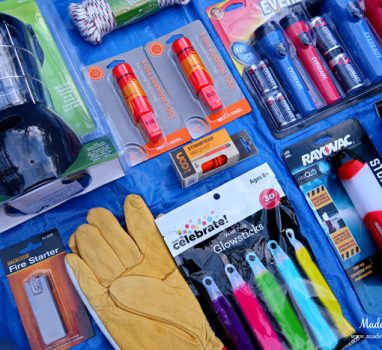 Unique School Auction Idea Emergency Preparedness Kit includes work gloves and whistles
