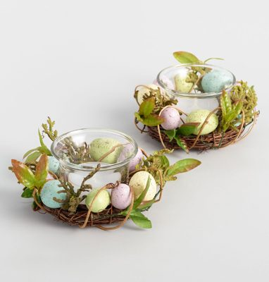 Peter Rabbit Tea Party Inspiration Egg Nest Tealights Candle Ring Set