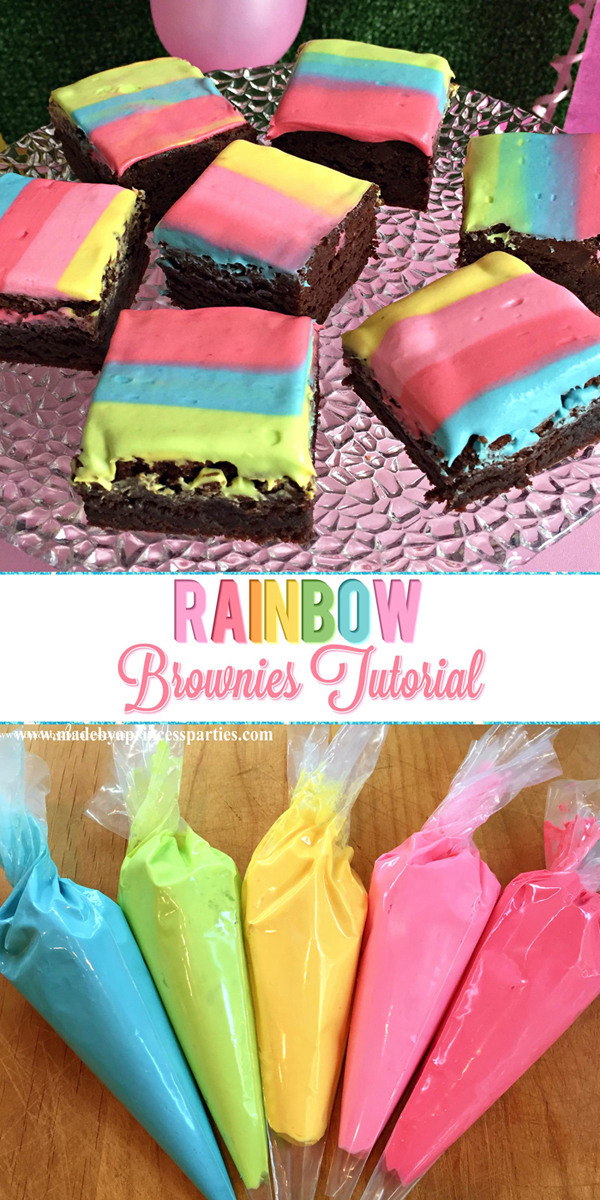 Unicorn Party Rainbow Brownies Recipe is an easy way to dress up homemade or store bought brownies #rainbowbrownies #rainbowparty #unicornparty #trollspary #rainbowfood @madebyaprincess