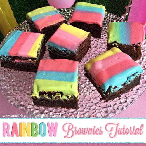 Unicorn Party Rainbow Brownies Recipe will be a hit at your next party #rainbowbrownies #rainbowparty #unicornparty #trollspary #rainbowfood @madebyaprincess