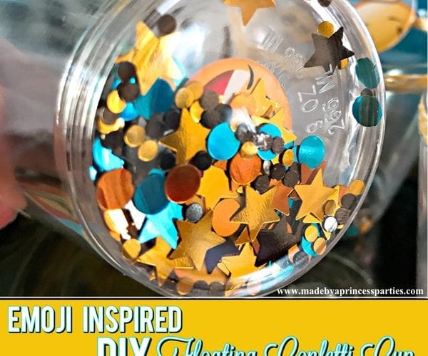 DIY Floating Confetti Sparkle Cup Emoji party cup #emojiparty #emoji #partycup #glittercup @madebyaprincess