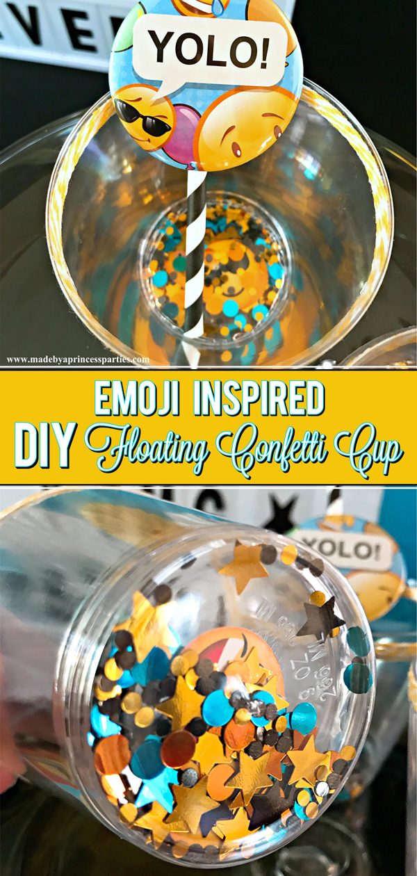 DIY Floating Confetti Sparkle Cup add confetti to clear cups for a sparkly surprise #emojiparty #emoji #partycup #glittercup @madebyaprincess