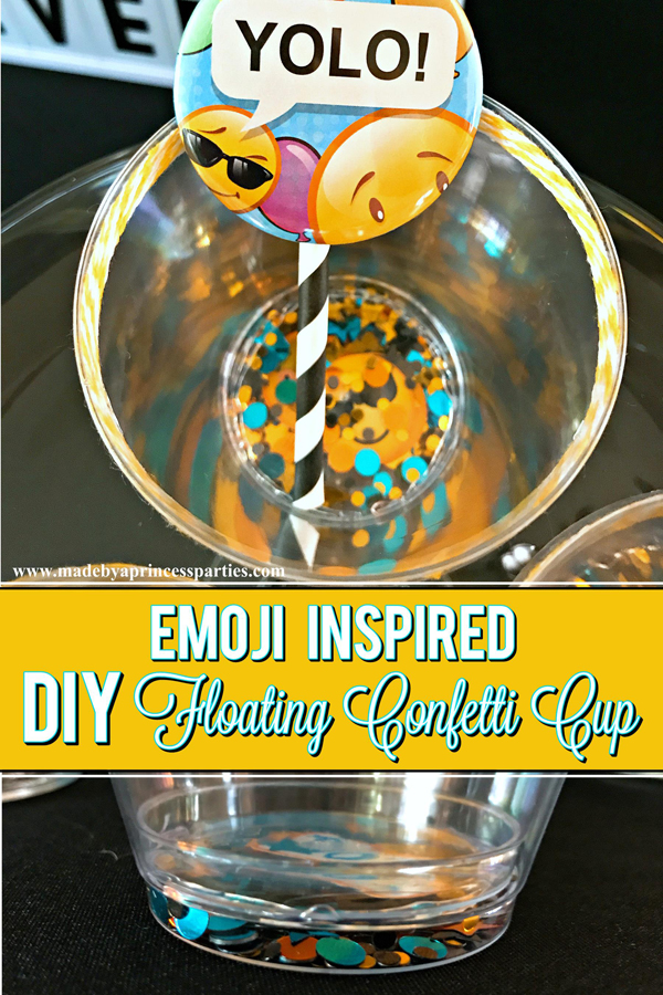 DIY Floating Confetti Sparkle Cup perfect for an Emoji party #emojiparty #emoji #partycup #glittercup @madebyaprincess