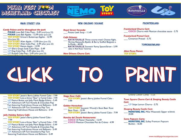 Disneyland Pixar Fest Food Checklist @madebyaprincess #pixarfestfood #pixarfest