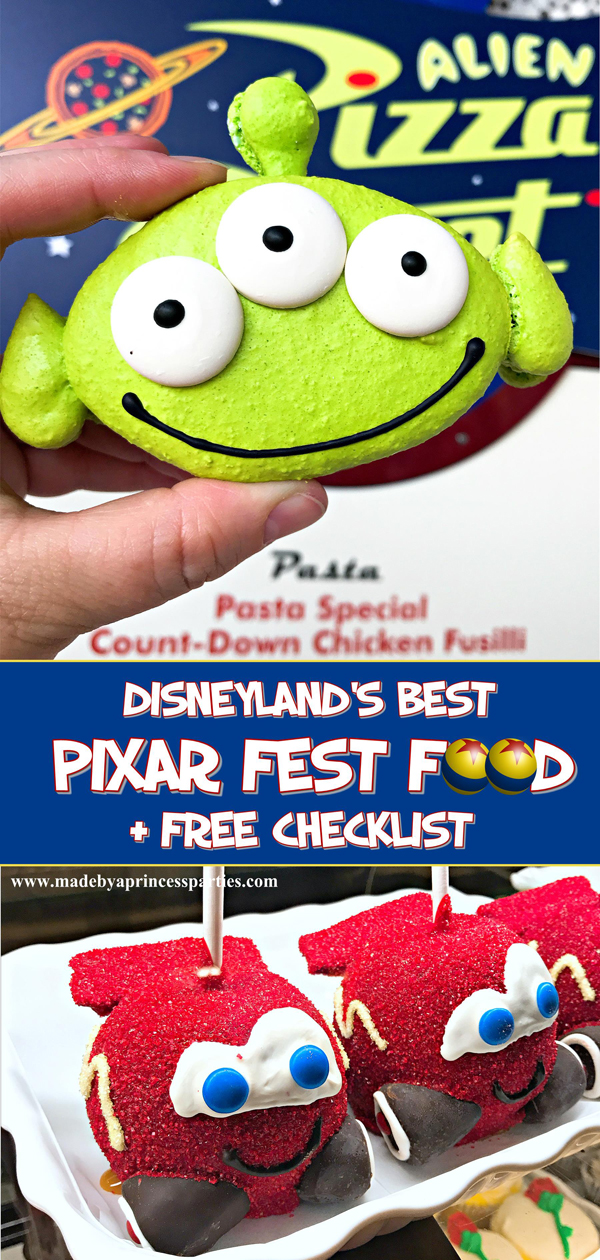 Disneylands Best Pixar Fest Food Checklist download and take with you #disneylandfood #disneyfood #pixarfestfood #madebyaprincess