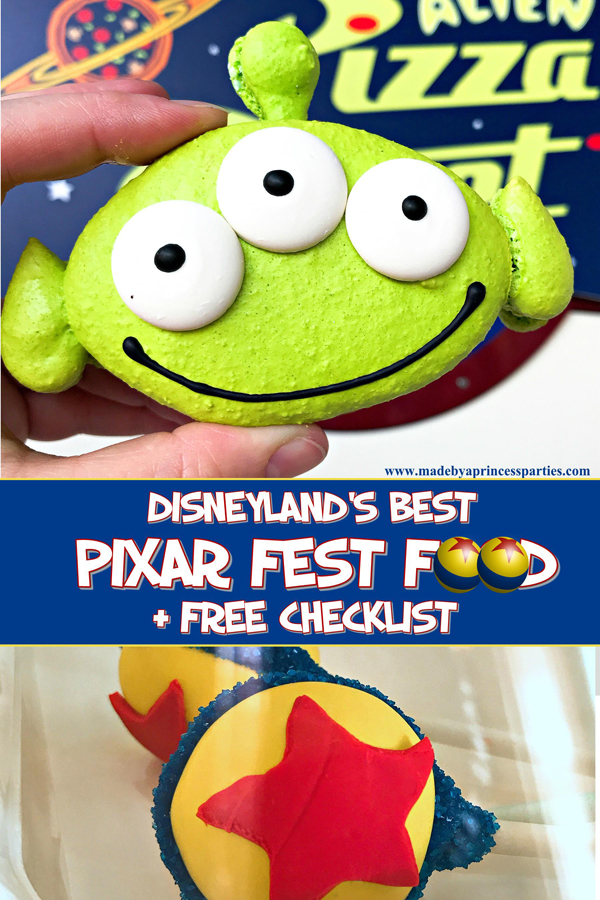 Disneylands Best Pixar Fest Food Checklist download and take with you #pixarfestfood #disneylandfood #disneyfood #madebyaprincess