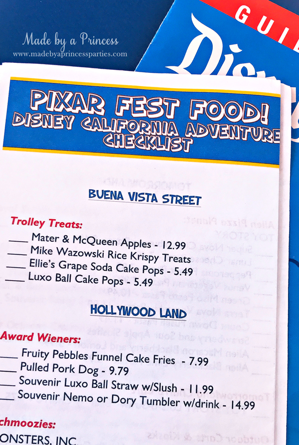 Disneylands Best Pixar Fest Food Checklist includes both Disneyland and California Adventure #disneylandfood #disneyfood #pixarfest #madebyaprincess