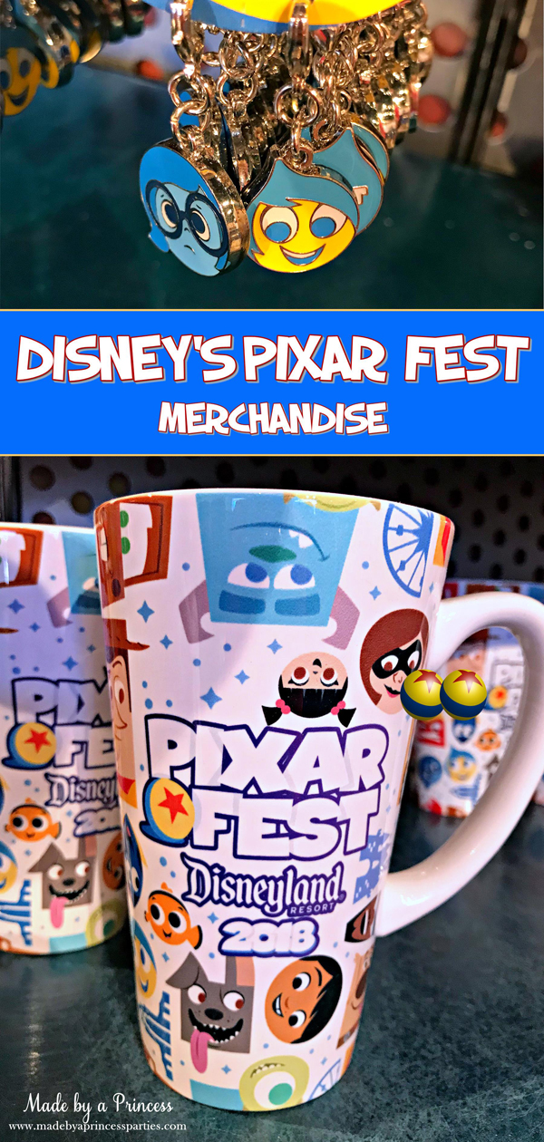 Disneylands Pixar Fest Exclusive Merchandise cute backpack charms and Pixar mugs #pixarfestmerchandise #pixarmug #insideoutcharms #pixarfest @madebyaprincess