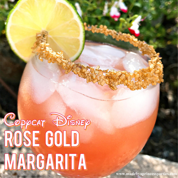 Copycat Disney Rose Gold Margarita like the Barefoot Pool Bar at Polynesian Resort #disneycocktail #rosegoldmargarita #copycatdisneyrecipe @madebyaprincess