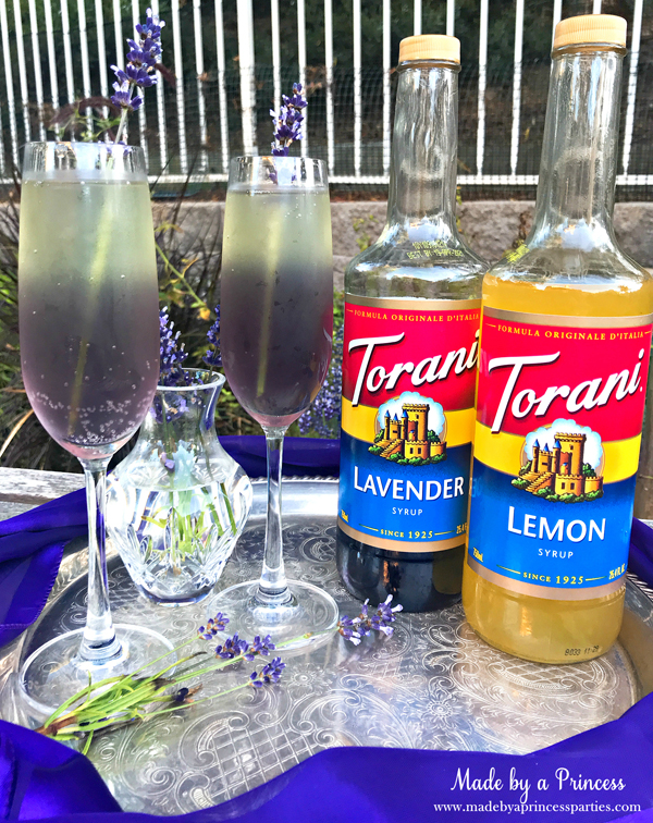 Lavender Elderflower Champagne Cocktail using Torani Lavender and Torani Lemon Syrups