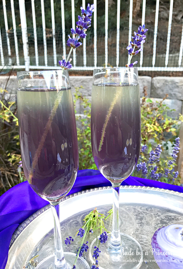 Lavender Elderflower Champagne Cocktail with a sprig of lavender