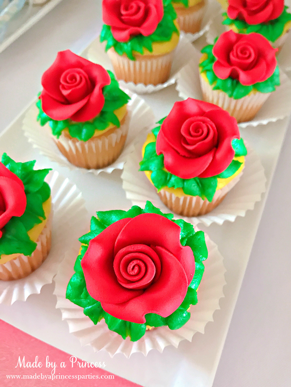 Disney Princess Party Ideas Beauty and the Beast Belle rose cupcakes