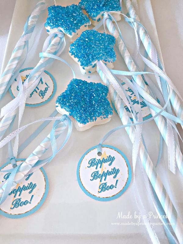 Disney Princess Party Ideas Cinderella Fairy Godmother marshmallow wands