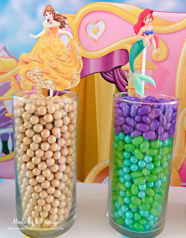 Disney Princess Party Ideas Little Mermaid Ariel and Beauty and the Beast Belle Candy
