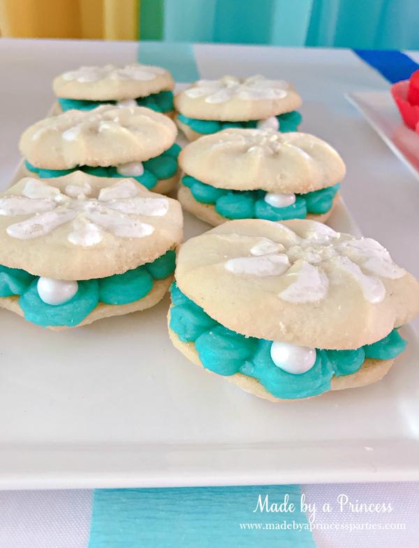 Disney Princess Party Ideas Little Mermaid Ariel pearl cookies
