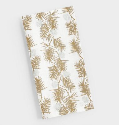 Golden Holiday Entertaining Essentials gold metallic pine needles napkins