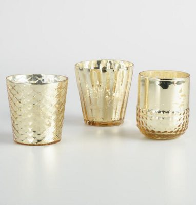 Golden Holiday Entertaining Essentials gold votives