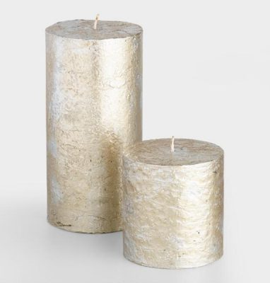 Golden Holiday Entertaining Essentials silver and gold mercury candles