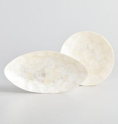 Golden Holiday Entertaining Essentials white capiz platters