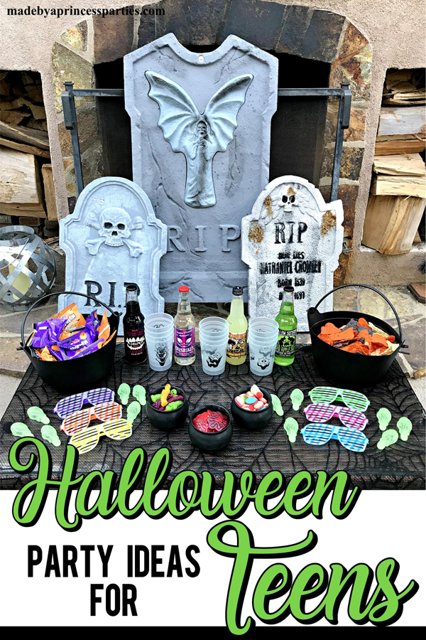 Teen Halloween Party Ideas that you can put together in less than 30 minutes with creepy gummies and decorations you already own #halloweenparty #teenhalloween #teenglowhalloween