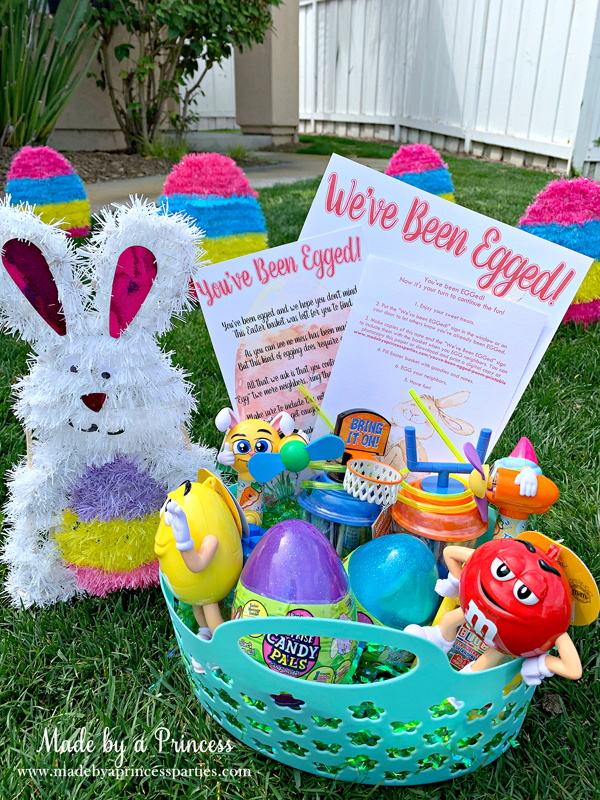 You've Been Egged Poem Printable Easter Activity basket of candy