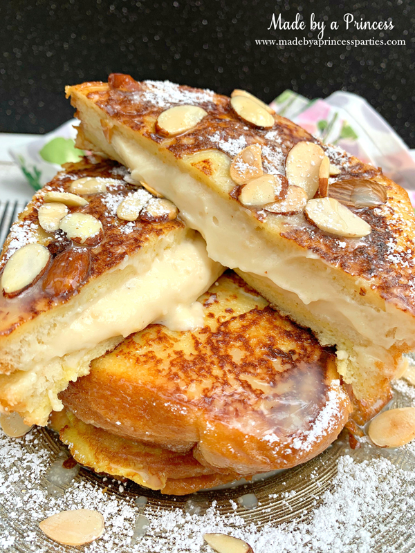 Marzipan stuffed french toast is delicious and decadent with Torani White Chocolate Sauce