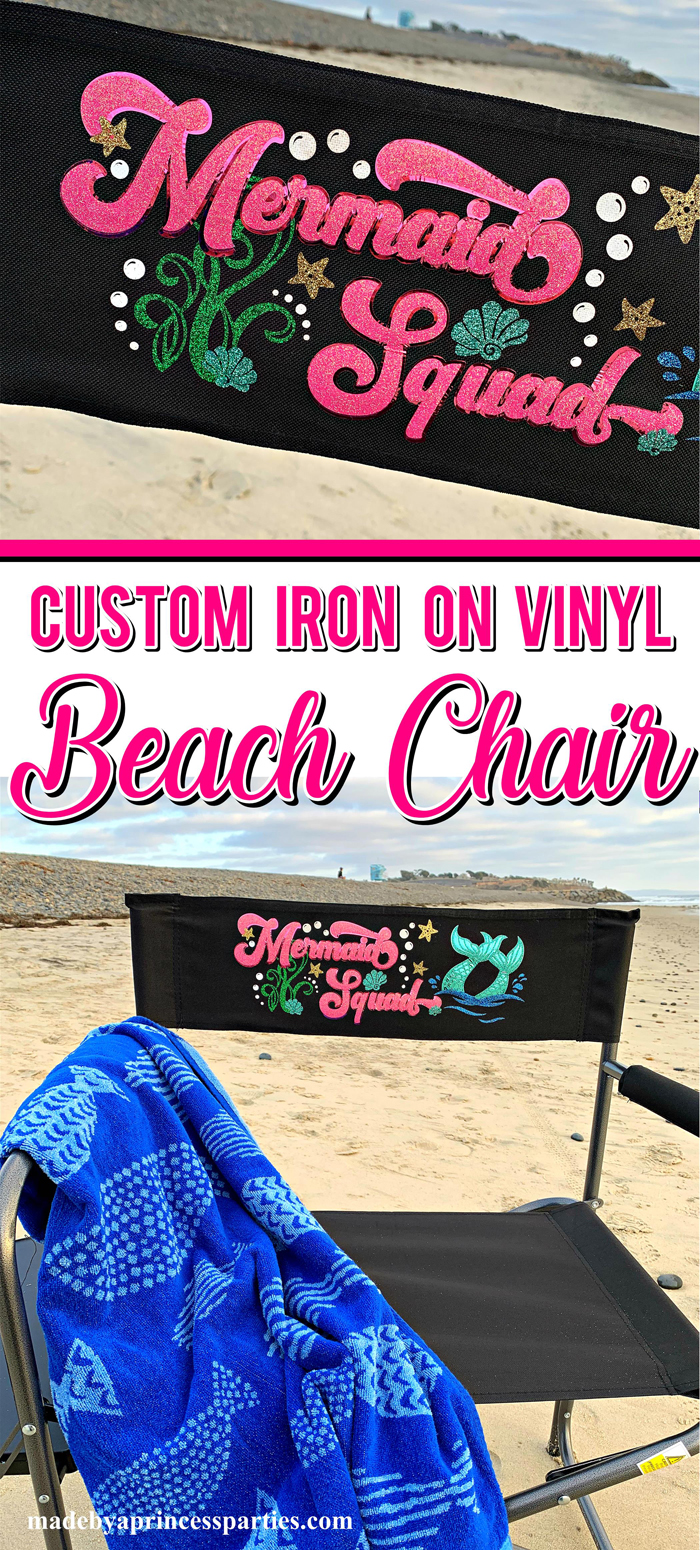 Create your own custom camping chair using an inexpensive camping chair and iron on vinyl