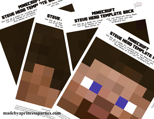 This is a graphic of Minecraft Steve Head Printable throughout skin