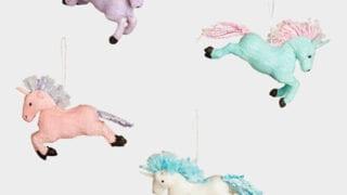 Pastel Paper Unicorn Ornaments Set of 4
