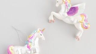 Pastel Glass Unicorn Ornaments Set of 2